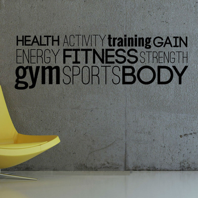 Aliexpress.com : Buy Gym Workout Healthy Body Wall Art Sticker Decal ...