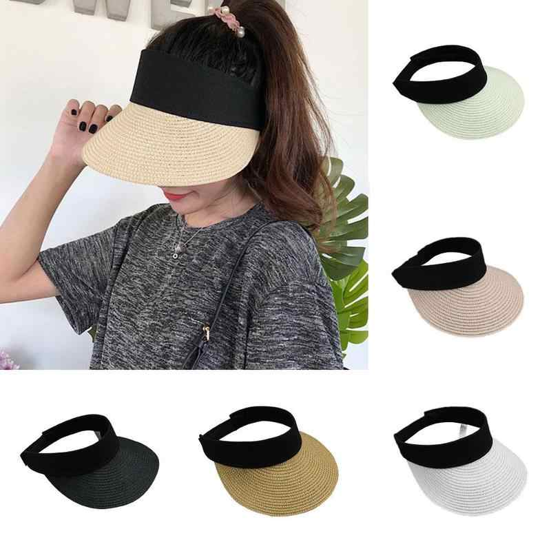 08df5f46 New Simple Summer Straw Sun Hat Women Pearl Backable Sun Visor Hat with Big  Heads Wide