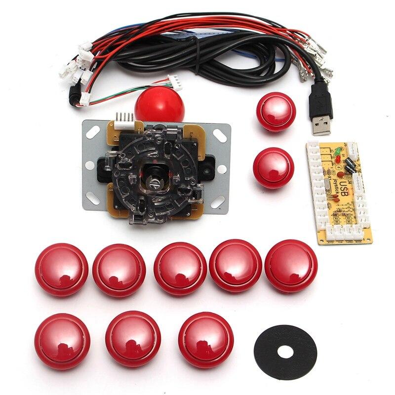 DIY arcade joystick handle set kits 5 pin 24mm / 30mm push buttons spare parts USB cable to PC joystick button encoder plate &