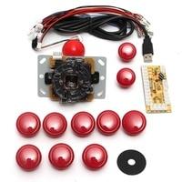 DIY Arcade Joystick Handle Set Kits 5 Pin 24mm 30mm Push Buttons Spare Parts USB Cable