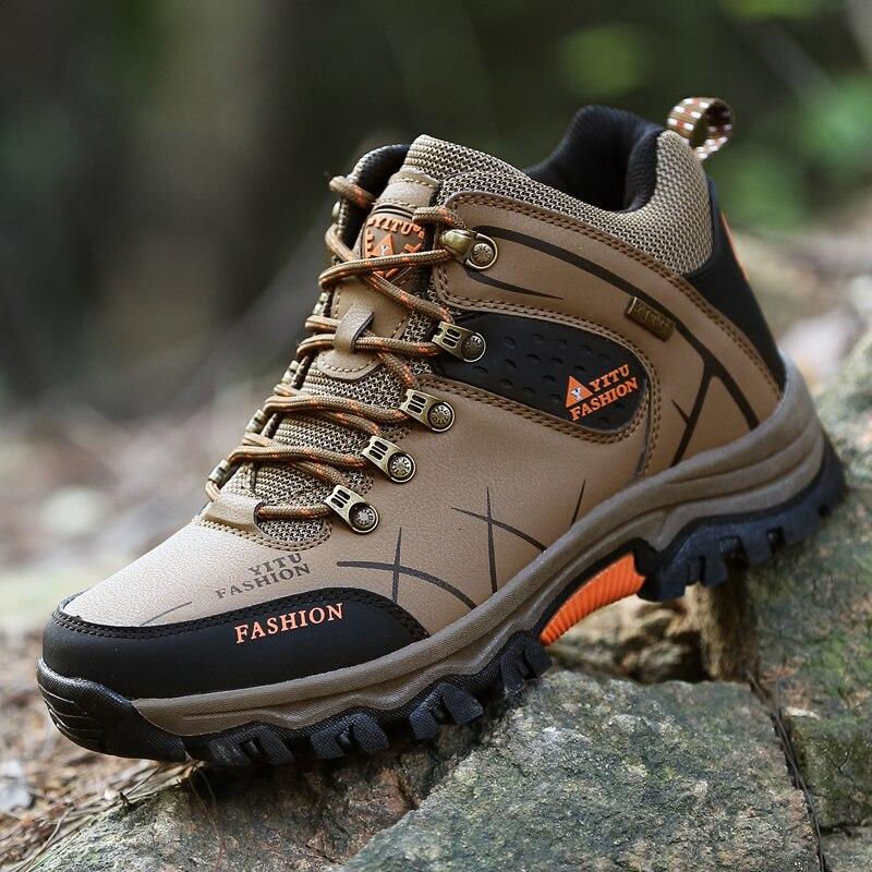2016 New Autumn Winter Genuine Leather Mens Outdoor Sport Shoes  Plus Velvet Male Hiking Warm Trekking Waterproof