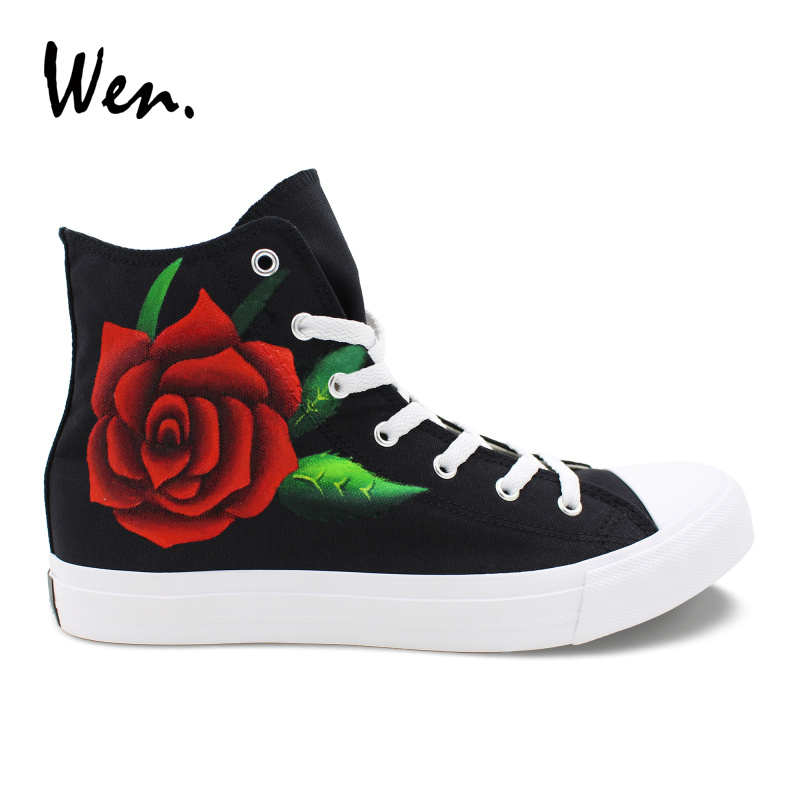 Wen Floral Wedding Shoes Hand Painted Red Rose Flower Painting Sneakers Men Women Canvas Black Plimsolls Tie up Casual Flat stylish flower jacquard 8cm width wedding red tie for men