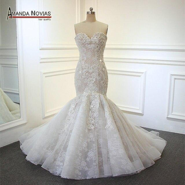 Amanda Novias 2018 New Model Mermaid Wedding Gown Beading: Aliexpress.com : Buy 2018 New Arrival Champagne Mermaid