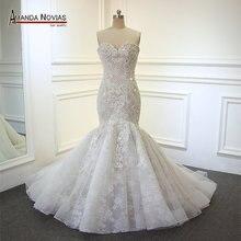 2020 yeni varış şampanya Mermaid düğün elbisesi tam boncuk