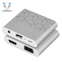 EGRINCY 3 in 1 USB To HDMI VGA Audio Video Converter Digital AV Adapter Cable For iPhone 6 6S 7 ipad Macbook Samsung ios Android