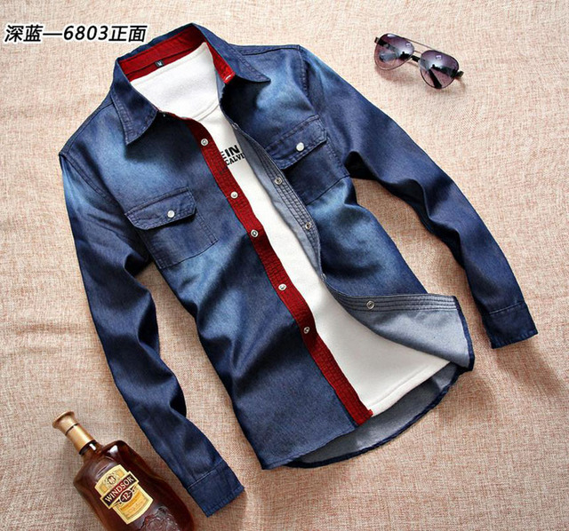 2017 New arrival brand denim shirt men long sleeve fashion style cotton mens jeans shirt camisa masculina dress shirt