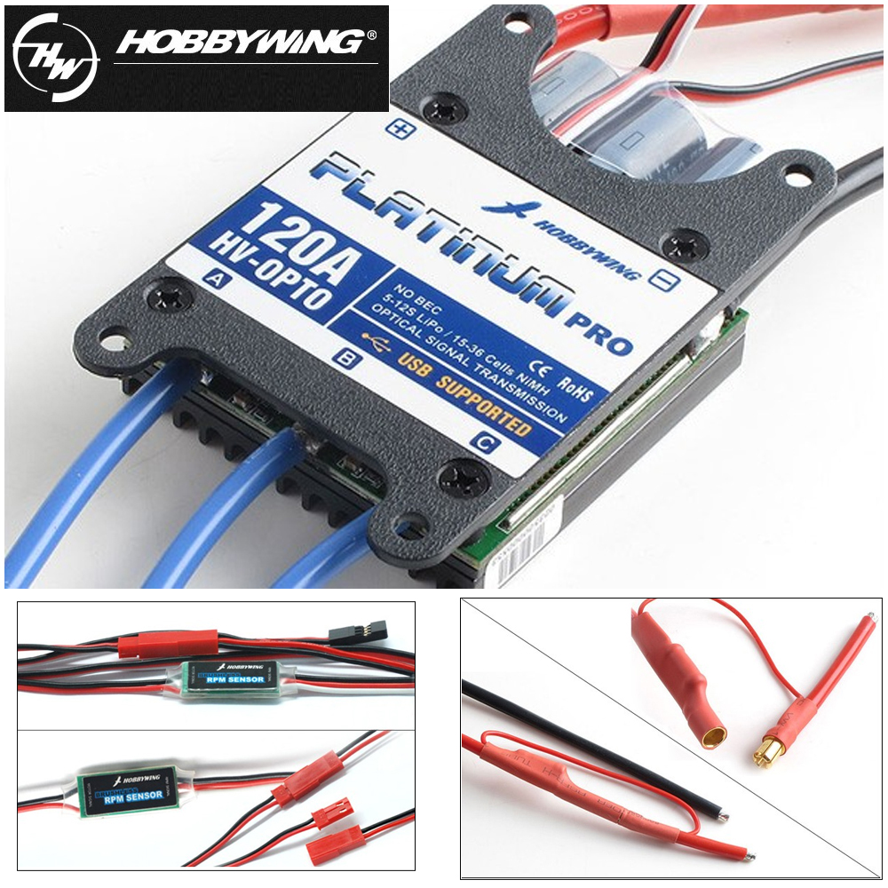 4pcs/lot Original Hobbywing Platinum Pro 120A-HV OPTO 120A Brushless ESC for RC Drone Aircraft Helicopter(support 12S battery) 4pcs 6215 170kv brushless outrunner motor with hv 80a esc 2055 propeller for rc aircraft plane multi copter