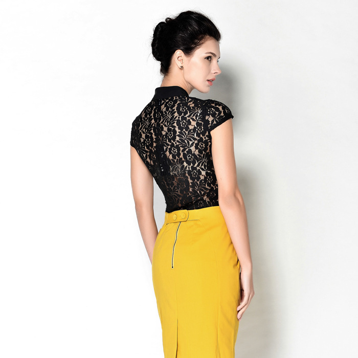 New Sexy Slim Lace Sleeveless Spliced OL Body Conjoined Shirt Women Summer Business Attire Office Lady Causal Shirts Blouses