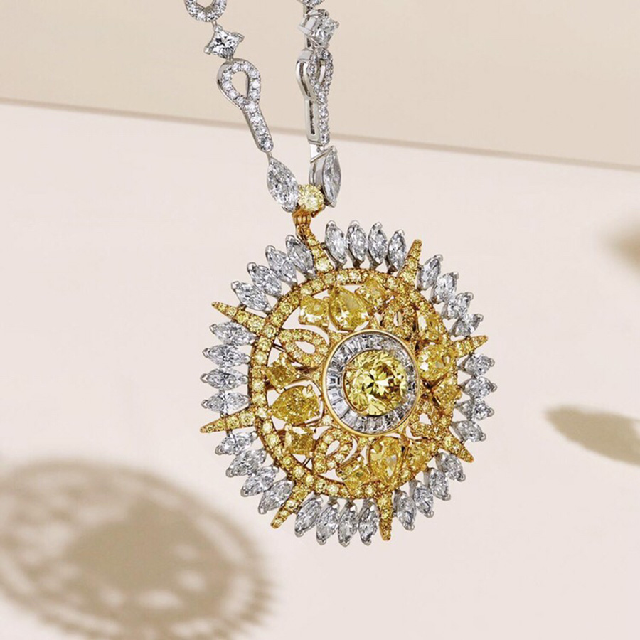 2019 Luxury Brand Strong Statement Necklace Charms Sunflower Pendant Yellow Zircon Crystal For Women Dubai High