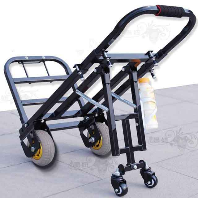 1f9ca0ea88a0 US $113.09 25% OFF|Folding luggage cart, universal wheel, small cart, four  wheeled trolley, small trailer, portable cart, trolley car-in Storage ...