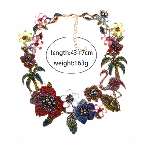 Image 2 - الملونة كريستال حجر الراين الزهور فلامنغو المختنق قلادة للنساء بيان كبير طوق قلادة مجوهرات الإناث