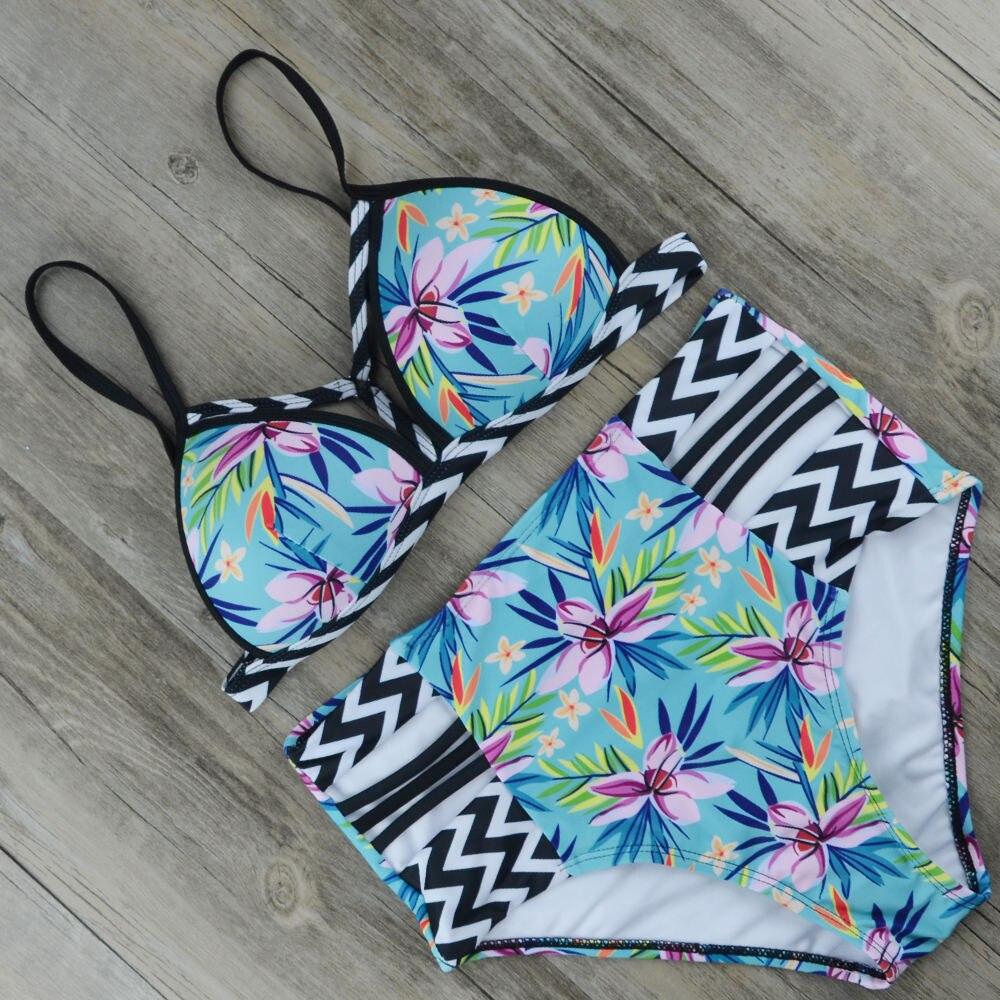2018 New Pop Sexy Women Push-up Paded Bikini Set Bandage High Waist Swimsuit Printed Swimwear Larger Beachwear