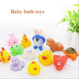 13 pieces Baby bath toys Infants kids playing in the water beach swimming toy duck animal VINYL squeeze-sounding dabbling toys