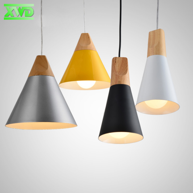 Modern Restaurant Yellow Black White Pendant Lamp Aluminum Wood E27 Lamp Holder 110 240V Dining Room