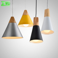 Modern Restaurant Yellow Black White Pendant Lamp Aluminum Wood  E27 Lamp Holder 110-240V Dining Room/Coffee House Indoor Lights