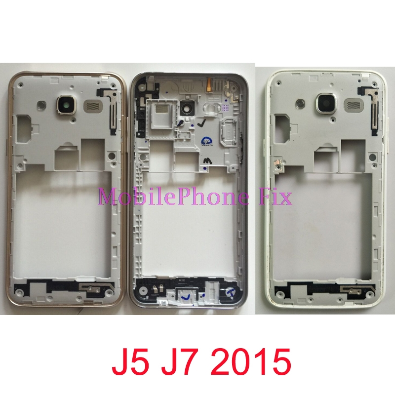 Galleria fotografica For Samsung Galaxy J5 J7 2015 J500 J700 Middle Frame Housing Outer Frame Bezel Chassis + Camera Lens + Button Parts