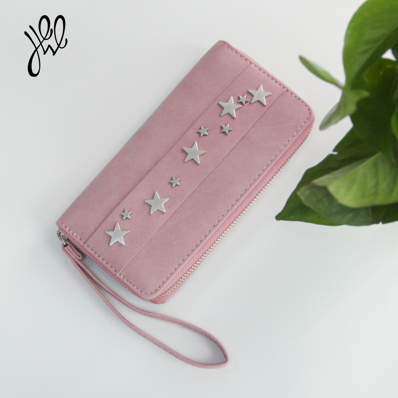 Fashion Women Wallet Long Style Surface Inlaid Stars Fresh Pink Style Purse Brand Designer With Cell Phone Card Holder 500690