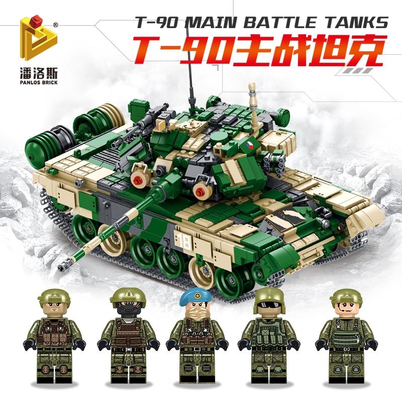 T90 รถถังทหารชุดอาคารบล็อกอิฐเข้ากันได้กับ legoinset ของเล่น Panlos 632005-ใน บล็อก จาก ของเล่นและงานอดิเรก บน   2