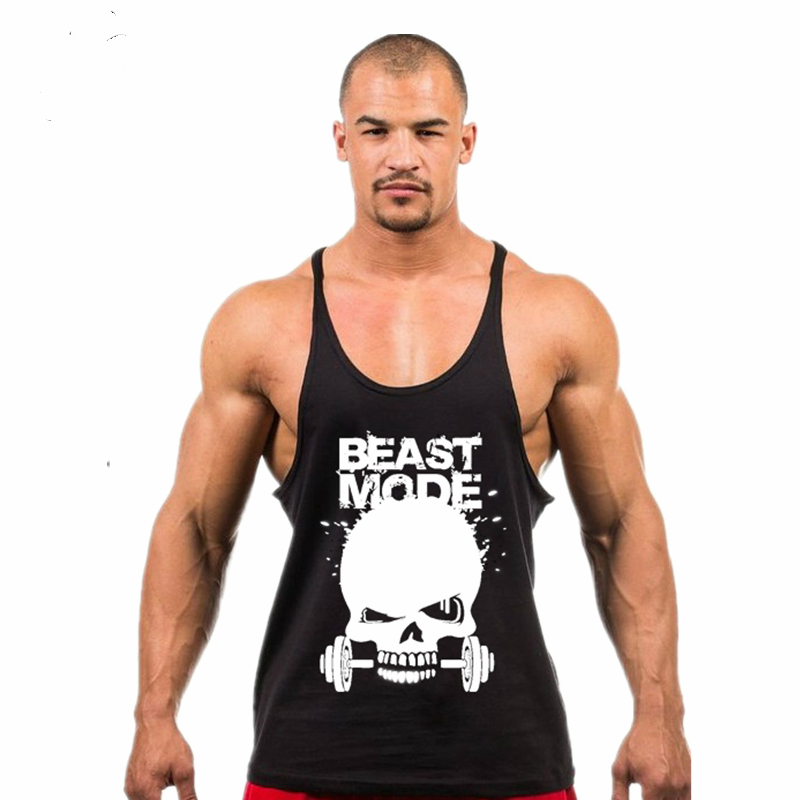 dabf4b87ee70c Skull Weightlifting print Stringer Tank Top Men Bodybuilding and Fitness  Vests Cotton Singlets Muscle Tops