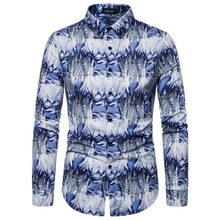 2019 Abstract Print Mens Casual Shirt Fashion Classic Dress Breathable Long-sleeved