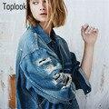 Toplook Embroidered Denim Jacket Women Hole Outwears 2016 Fall New European Slim Outwear Female Clothing Long Sleeve Coat Trend