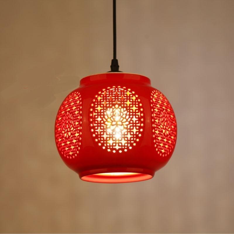 Ceramic glass red Pendant Lights lanterns for balcony aisle entrance hall aisle lamp wedding home decoration festive lights ZA