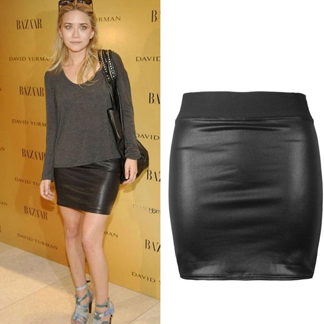 Chic Womens Y Pu Leather Short Mini Skirts Bodycon Pencil Skirt Black Office Workwear