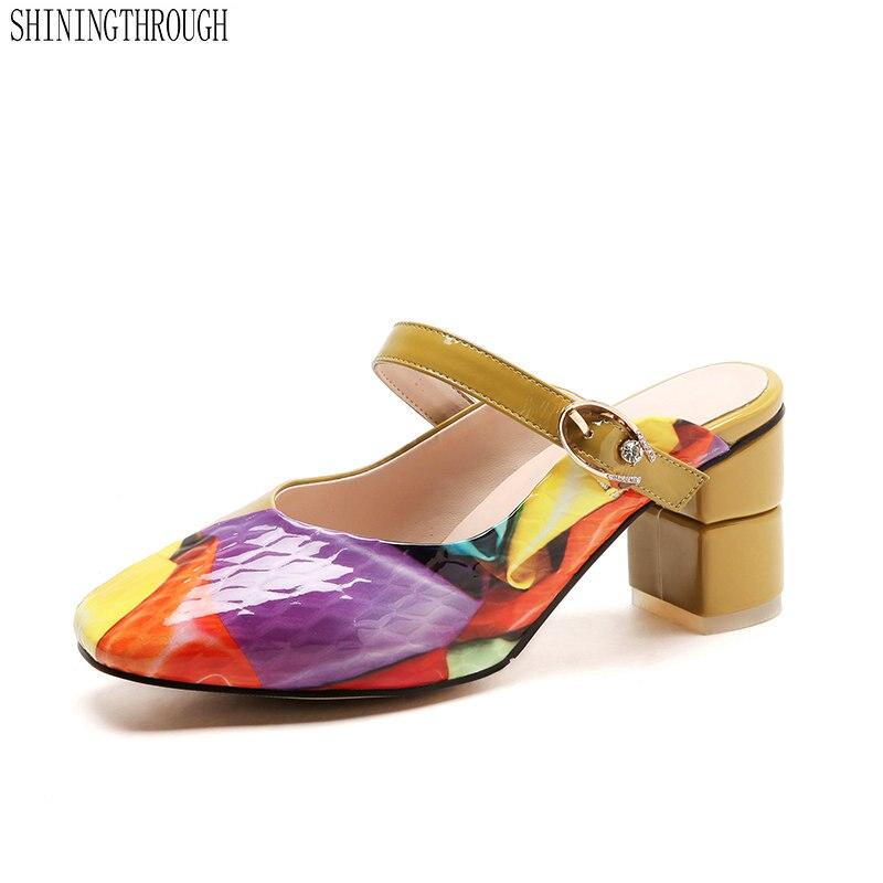 Herrlich Frauen Pantoffel High Heels Neue Drucke Sommer Mode Gladiator Echtes Leder Sandalen Plattform Schuhe Frau Mit Einem LangjäHrigen Ruf
