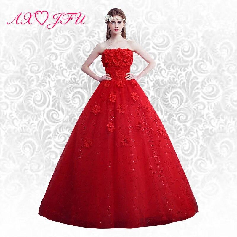 AXJFU Flower Princess Tube Top Wedding Dress Princess Red