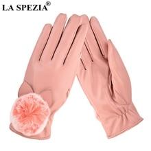 LA SPEZIA Leather Gloves Women Winter Rabbit Fur Pom Pink PU Fleece Ladies Elegant Windproof Touchscreen Mittens