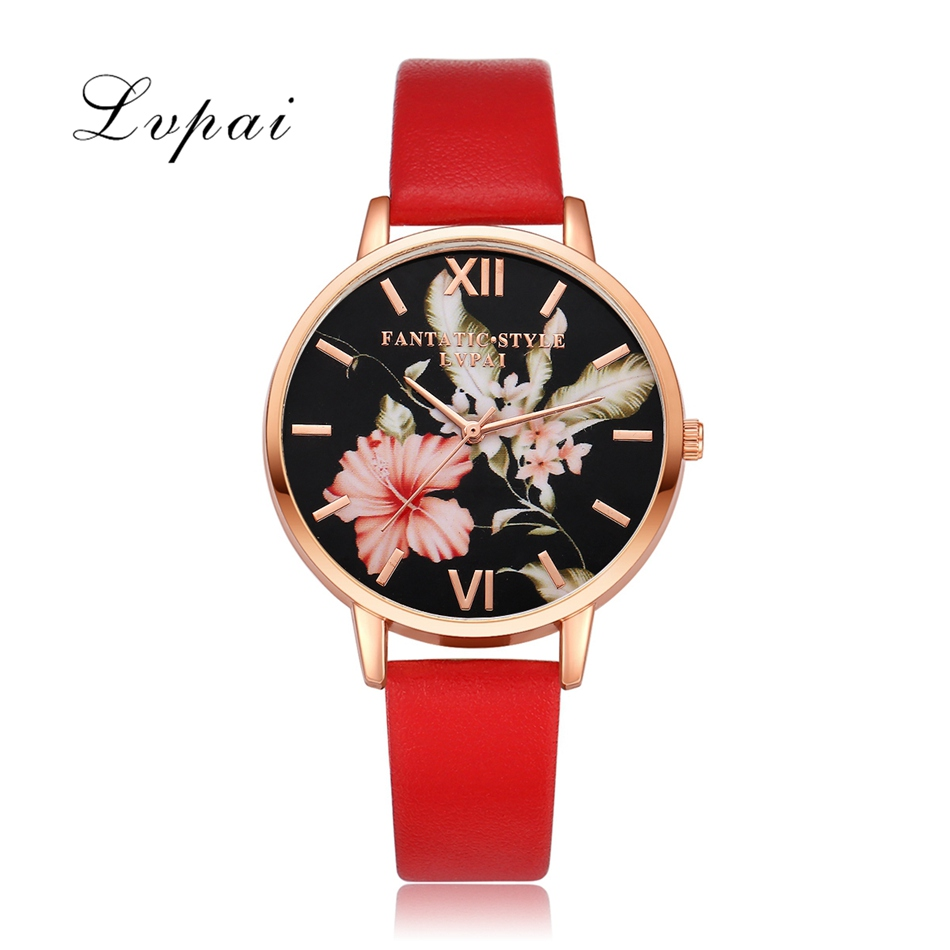 Women Bracelet Watch Fashion Rose Gold Flowers Leather Watches 1