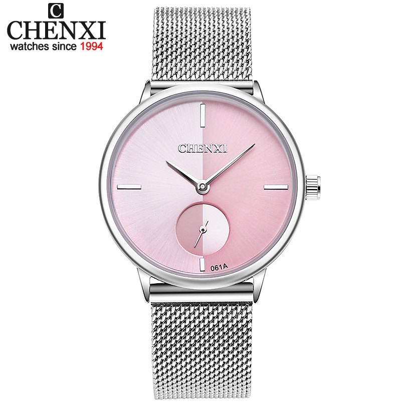 CHENXI mujeres del reloj del cuarzo del acero inoxidable del reloj de señora Casual reloj pulsera Relojes Mujer mujer regalo reloj Reloje