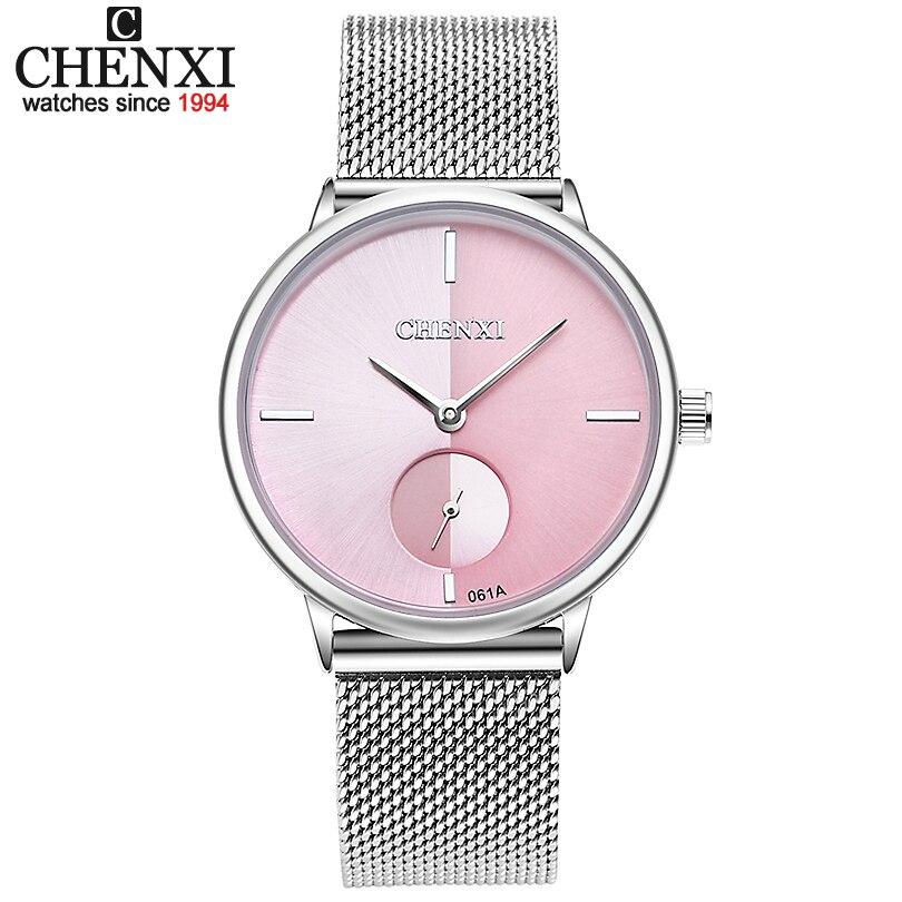 CHENXI Frauen Uhr Edelstahl Quarzuhr Dame Casual Armbanduhr Armband Uhren Frauen Weibliche Uhr Geschenk Armband Reloje