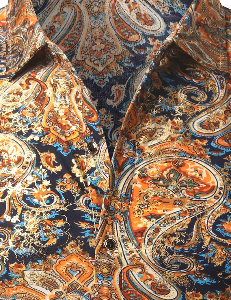ベルベットペイズリーシャツ男性2017高級ブランドデザインシルクメンズドレスシャツカジュアルスリムフィット黄金箔プリント花シュミーズオム