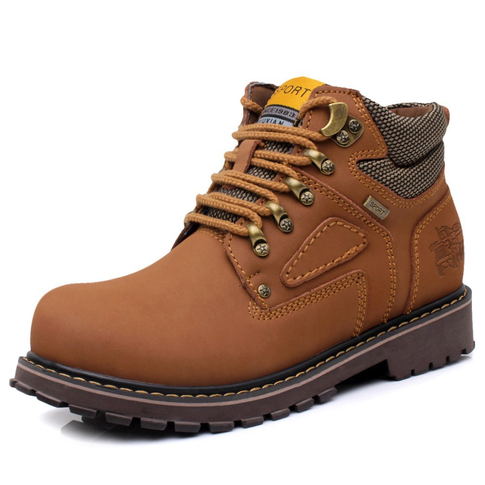 ФОТО New  Winter Men Motorcycle Boots Ankle Martin Fashion Leather Waterproof Hiking Safety Work Shoes big size A093