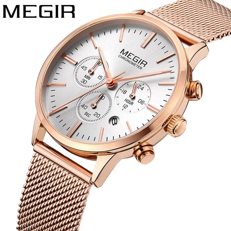 MEGIR Women Watch Waterproof Top Brand Luxury Chronograph Ladies Wristwatch Stainless Steel Classic Bracelet Female Clock 2011