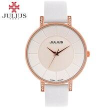 Женская лучший кожа наручные часы женщины платье горный хрусталь часы моды случайные Miyota кварцевые часы Известный Julius 766 colcks