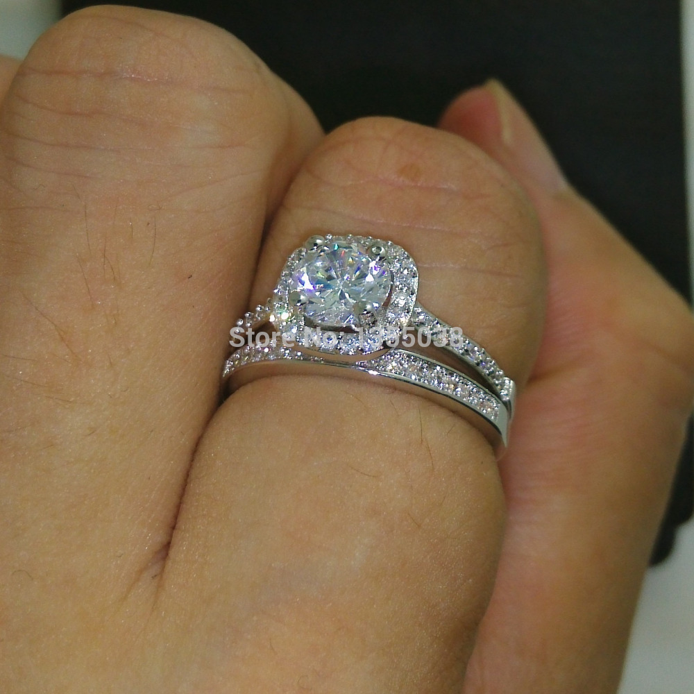 Fashion Jewelry Sparkling Jewellery AAAAA zircon cz 10KT White Gold Filled Wedding Ring Set Sz 5-10 Gift Free shipping