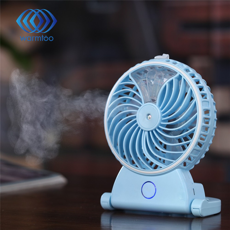 Summer Humidifier Mini Fan USB Rechargeable Water Mist Fan With Lithium Battery Office Home Air Conditioning Cooling Fan new air humidifier with night light mini fan usb rechargeable water mist fan air conditioner fan office home table pedestal cooling