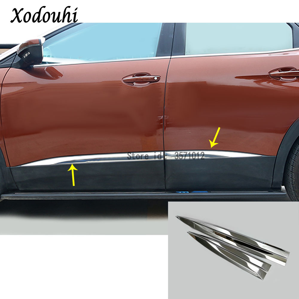 For <font><b>Peugeot</b></font> <font><b>3008</b></font> GT 3008GT <font><b>2016</b></font> 2017 2018 2019 2020 Car Body Bumper Detector Stainless Steel Side Door Trim Stick Strip Molding image