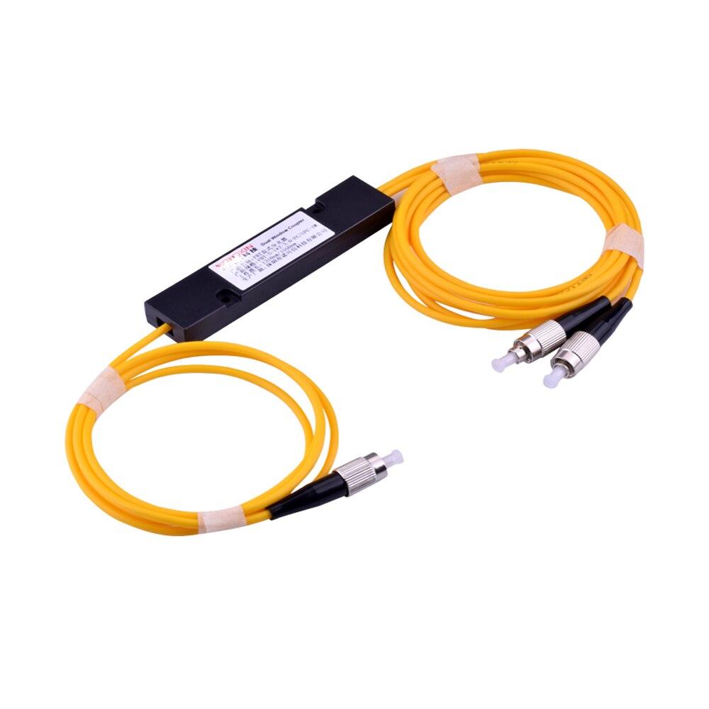 Séparateur optique 1310/1550nm de Fiber de 2 pièces FC/UPC 1x2 FBT monomode, Module SM de diviseur de PLC 1 M, fiabilité élevée