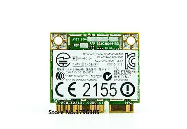 Carte sans fil SSEA pour Broadcom BCM94352HMB BCM4352 pour Dell DW1550 802.11ac 2.4G/5.0 GHz Mini PCI-E 867 M WIFI Bluetooth 4.0