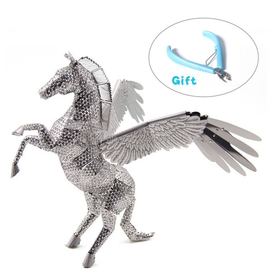 3D metal puzzle smart DIY building assembled toy,copper sheet PEGASUS model original design family game for parent-kid toy tool ...
