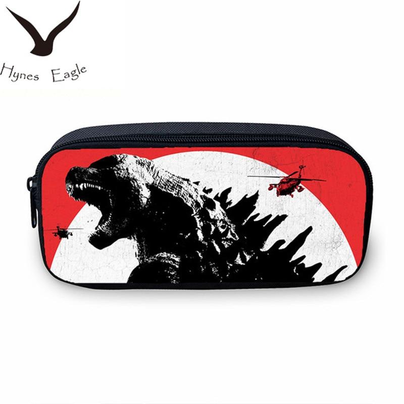Hynes Eagle Brand Designer Monster Godzilla Printing Wallet For Boys Girls Pen Bag Pencil Pouch Zipper Case Casual Coin Purse
