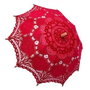 Image 5 - 우아한 코 튼 자 수 레이스 파라솔 야외 여름 태양 우산 웨딩 장식 사진 신부 들러리 우산
