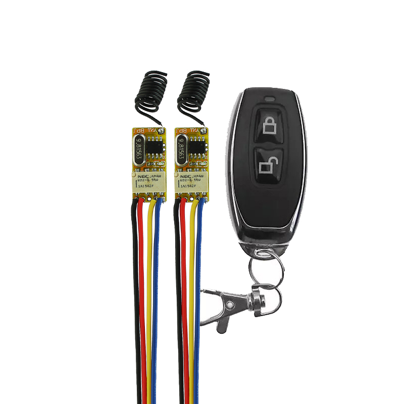 DC 3.5V -12V 2PCS Miniature Relay Receiver+ Transmitters 3.7V 4.5V 5V 6V 9V 12V Minitype Micro Remote Control Switch Small TXTX 12v dc 4ch relay 1 receiver