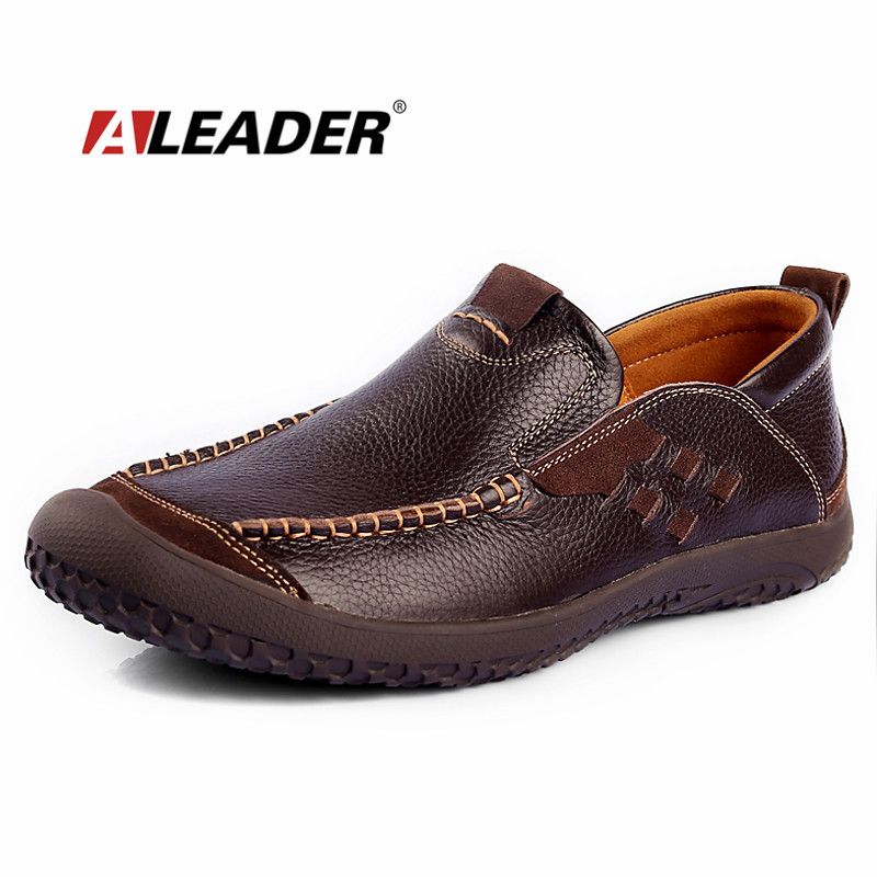 ALEADER New Autumn Men Shoes Genuine Leather Loafers Slip On Hand Made Mocassins For Men Driving Shoes Fashion Men Design Shoes aleader casual men genuine leather shoes fashion autumn hade made designer shoes dress shoes sapatos masculinos
