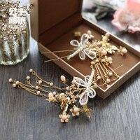 Chinesa bonita handmade rendas cocar hairpin borla floretes de libélula hairpin antigo personalidade noiva headdre