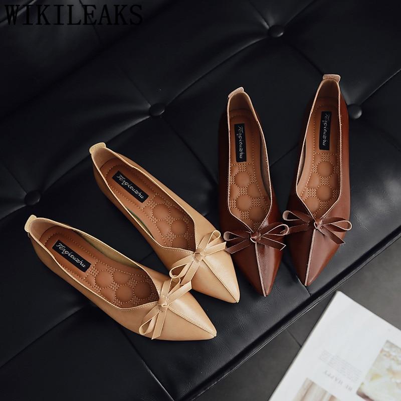 Véritable chaussures en cuir femmes bout pointu appartements mocassins femmes Papillon-noeud dames chaussures plates creepers chaussures de harajuku ayakkabi
