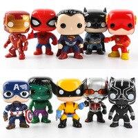 FUNKO POP 10pcs/set DC & Marvel Avengers Superman Logan Black Panther Hulk Characters Model Action Figures Toy for Children